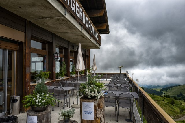 Empty terrace of the Eiger North Face restaurant, near Kleine Scheidegg,awaiting a hungry trainload of Japanese tourists trekking up from Grindelwald.