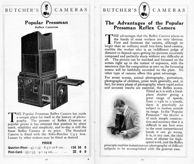 [Fig.3]Butcher's cashed in on the plate SLR's popularity with Press Photographers when they imported the ICA Reflex which they sold as the Popular Pressman.