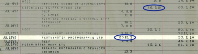 The original bank statement from 1963 showing my monthly salary of £46 5s 10d and the enormous investment of £25 12s 5d in the Agfa Silette camera. I also received £32 5s which I suspect would be the windfall gains from my birthday, thus funding the camera. That final balance of £61 sounds paltry in 2013, little more than the cost of a meal for two, but in 1963 it had the purchasing power of £1,000 in today