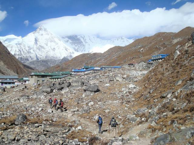 Approaching Gokyo village. The high mountain in the distance is Cho Oyu, at 8,200 metres it is the sixth highest peak in the world. Hillary attempted a climb there in 1952 but didn't succeed – a year later he and Tenzing were successful elsewhere.