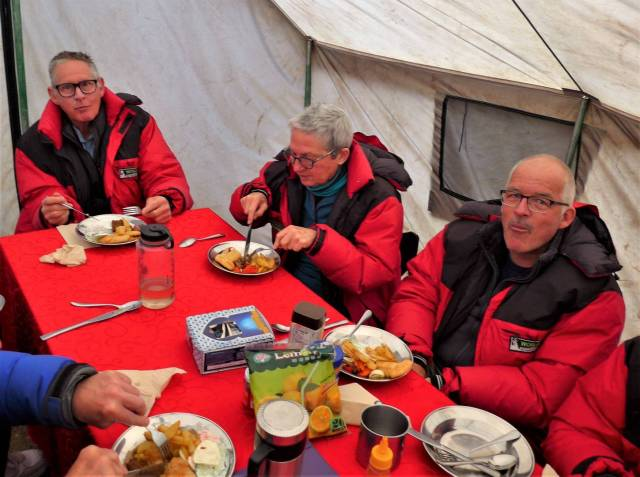 Formal wear in the dining tent was our red down jackets; the food was hot, the company was warm, but the temperature was often quite cold
