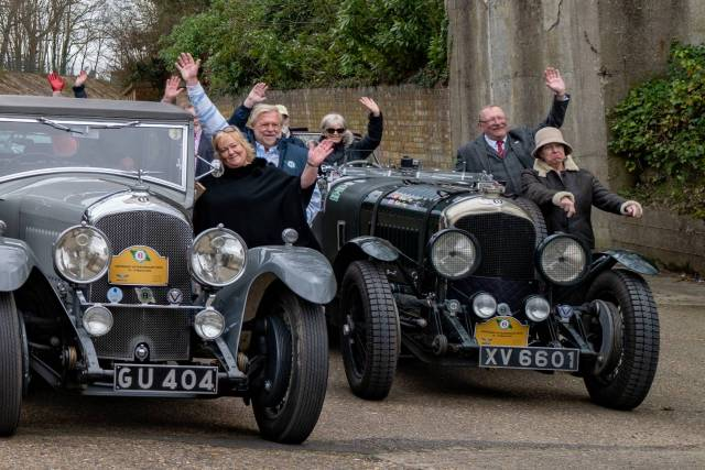 Happy days as members of the Bentley Drivers' Club gather under the Members' Bridge on the ancient banked circuit. April 2019, Leica Q2