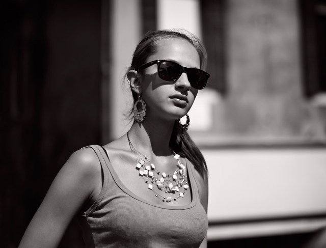 Girl with Sunglasses: Leica M9 Monochrom and 35mm Summilux (Photo George James )