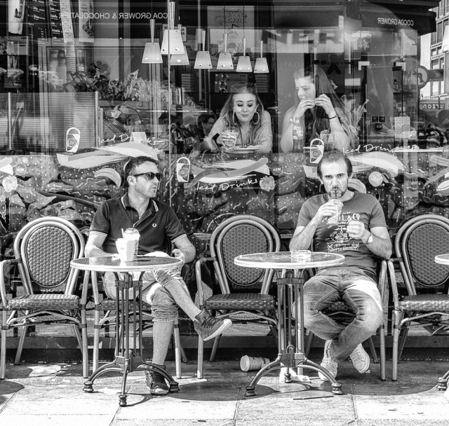 Daytime in Soho, through the glass brightly: Caffe Nero, Soho, M9 Monochrom and 75mm APO Summicron (Photo Mike Evans)