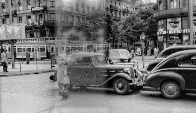 """Our mystery lady with her """"Dackel: standing by the side of the BMW parked in Bahnhofplatz, presumably before the start of the excursion to Lake Como"""