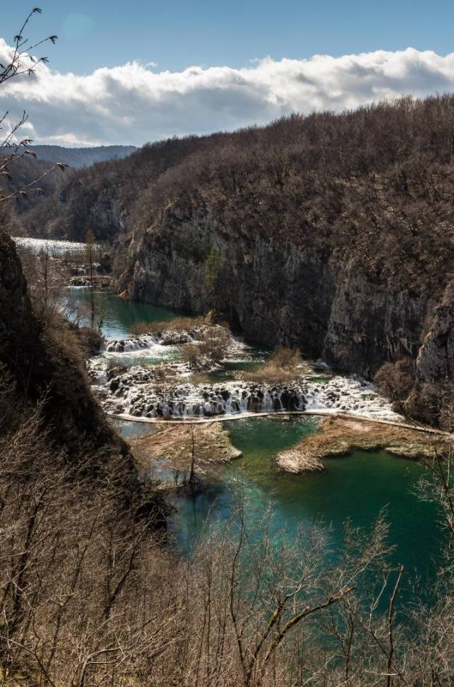 The Great Cascade with Milanovac Lake and Gavanovac Lake beyond and Kaluderovac Lake in front
