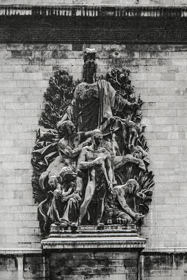 Detail from the Arc de Triomphe in 1945