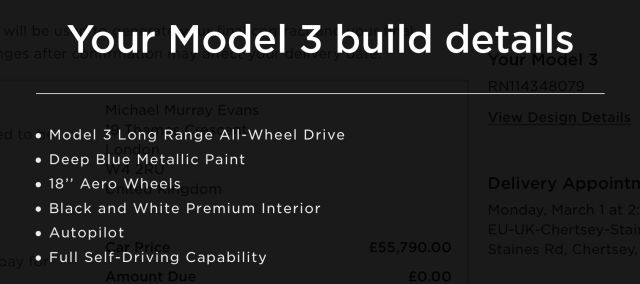 This is what I've ordered. There was much hand-wringing over the colour. Standard white is free, but I decided to pay a little more for the blue. I was strongly tempted to red but eventually decided that it could draw unwelcome attention in car parks and on the road. Better to blend in and be unobtrusive...