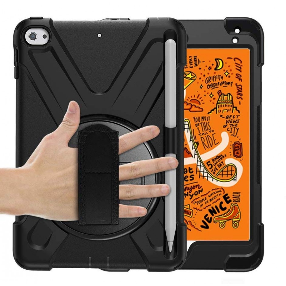 Breacn iPad Mini 5 Case.iPad Mini 4 Case. Heavy Duty Shockproof Protective Rugged Case with Pencil Holder. Hand Strap. Kickstand. Shoulder Strap ...