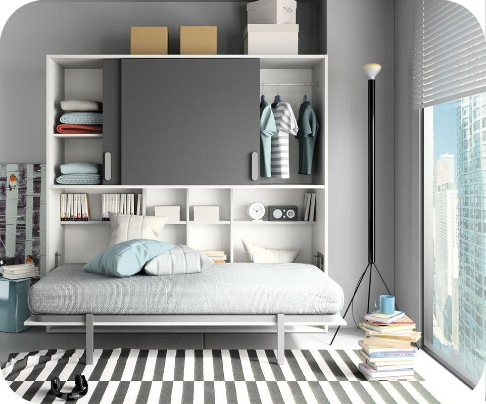 Lit Enfant Escamotable Planet Blanc Et Gris Anthracite