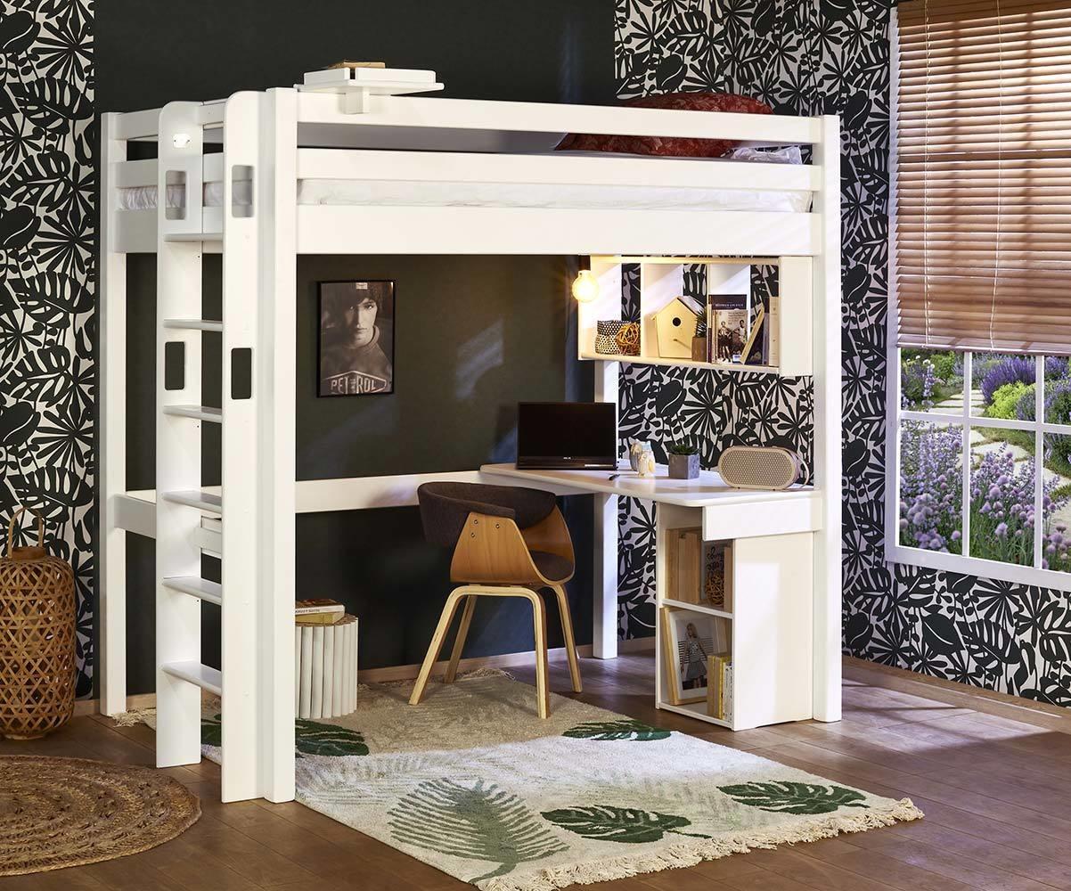 lit mezzanine enfant 2 places avec matelas fynn