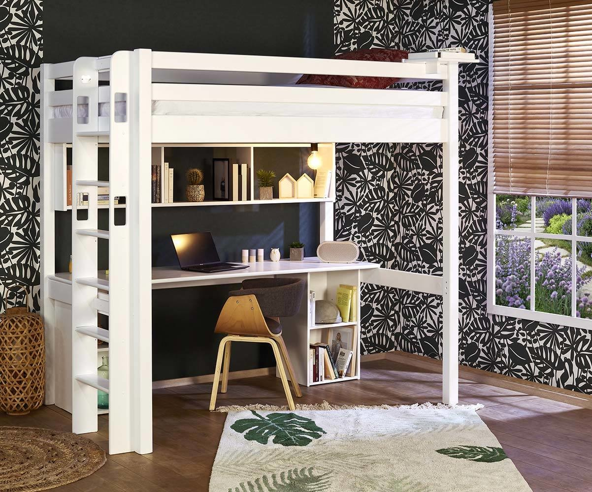 lit mezzanine adulte avec bureau fynn