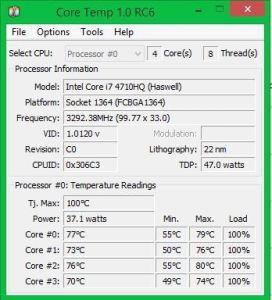 intel i7-4710HQ max temperature