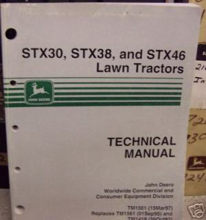 John deere STX30,38 and 46 lawn tractor repair manual