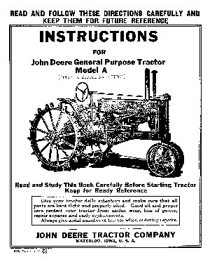 John deere model a general purpose instructions manual
