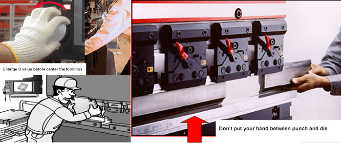 Confirm that the toolings' center is consistent before the punch and die closure