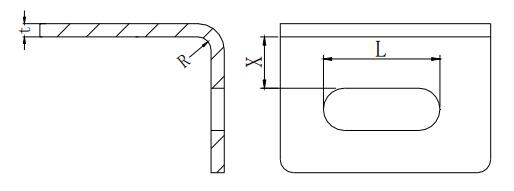 Figure 1-31 The minimum distance from the long round hole to the bendedge