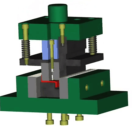 Bending die for bending Z-shaped parts in two steps