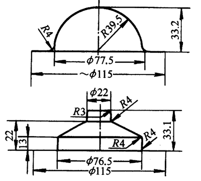 Drawing method of shallow stepped piece