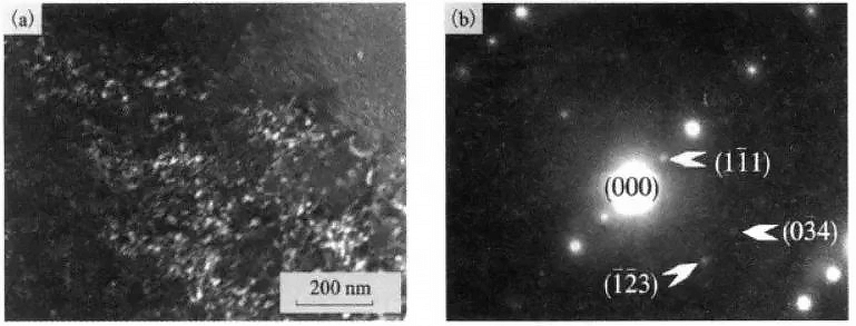 TEM morphology and selected area electron diffraction pattern of α2 phase in Ti600 alloy after thermal exposure