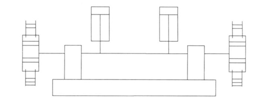Fig. 3 Schematic diagram of gear rack drive with forced synchronization
