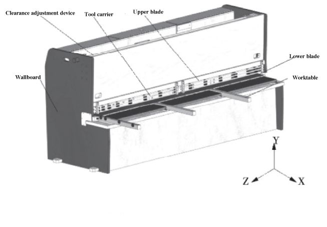 Structural model of 6 × 3200 NC guillotine shear
