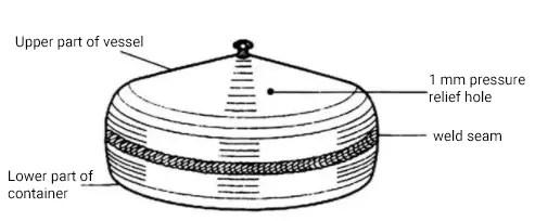Schematic diagram of narrow welding pontoon or closed vessel