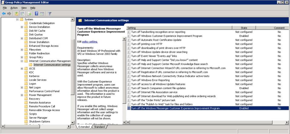 GPO disable Windows Customer Experience Improvment