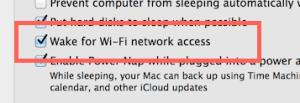 Wake on lan settings in OS X
