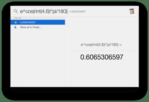 Spotlight as a calculator in OS X