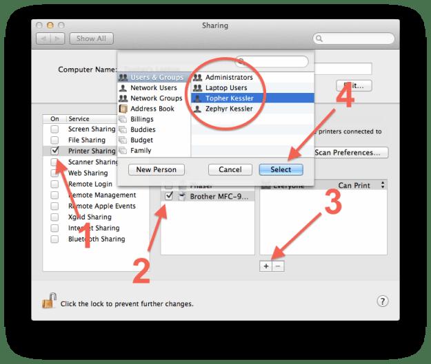 Printer Sharing setup in OS X
