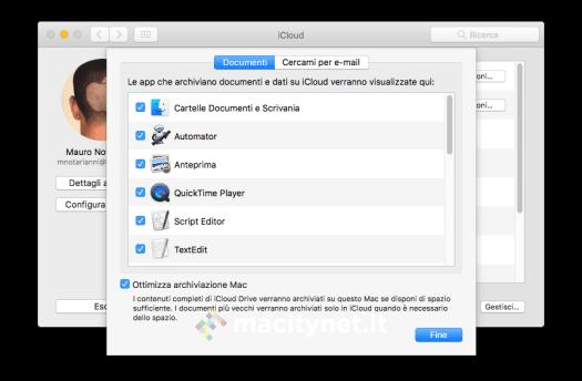 L'opzione per sincronizzare Scrivania e Documenti sul cloud