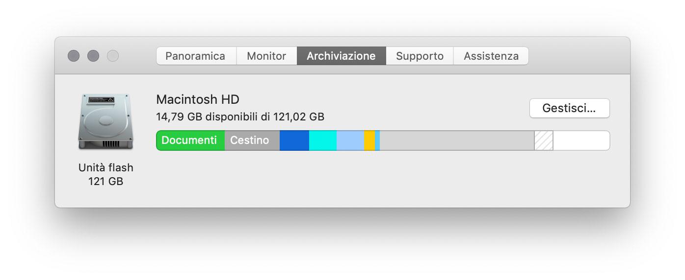 """Selezionando dal menu Mela la voce Informazioni su questo Mac è facendo click su """"Arechivio"""" o """"Archiviazione"""" è possibile visualizzare lo spazio di archiviazione in uso sul Mac e lo spazio libero disponibile."""
