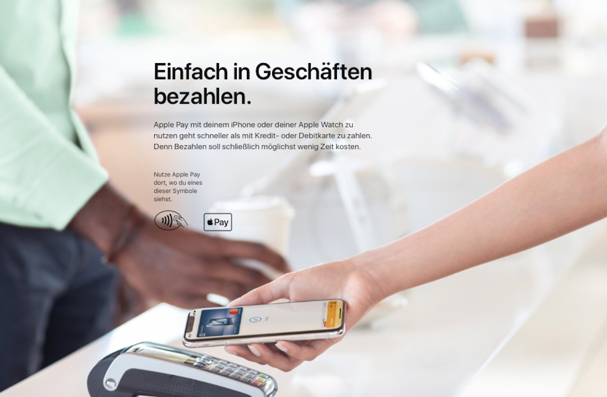 "Apple Pay in Germania: foto sito web apple pay ""Einfach. Sicher. Bezahlen"""
