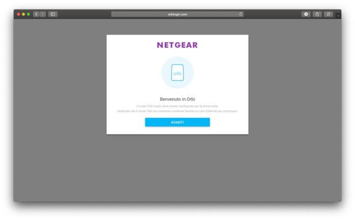 La pagina di benvenuto che appare la prima volta collegandosi dal browser
