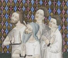 Men in their underwear, where we can see their hair without hats pretty clearly. Notice the beards. c. 1410