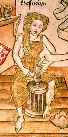 A woman working in her shift. Second half 1400's