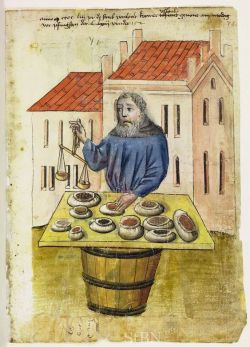 Spice Merchant with bags of dried spices, Berthold Uslaunb. Illustration: the House Books of the Nuremberg Twelve Brothers Foundation, records of a charitable foundation started in the city of Nuremberg in 1388.