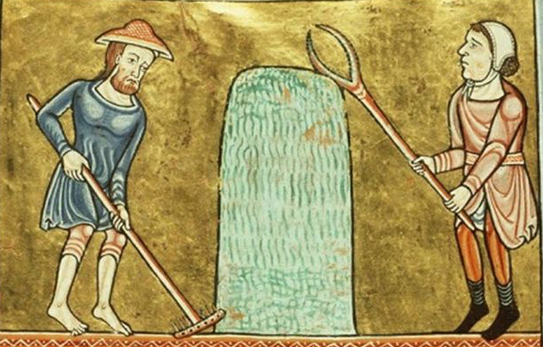Peasants working both wearing tunics and one of them is wearing hose. 1180
