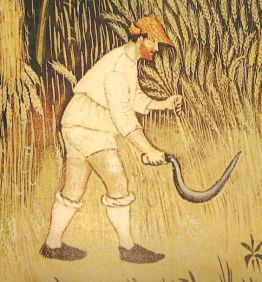 Peasant working in his shirt, short braies, hose, a hat and shoes. 1386