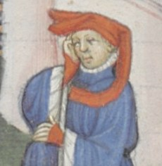 Chaperon worn in 1400's style