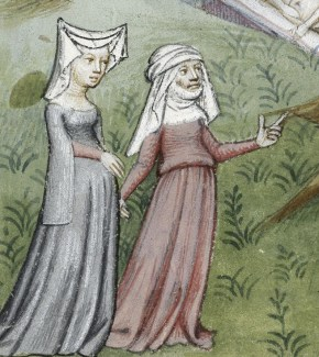 Two women. One is wearing a simple cote while the other is wearing a surcote with square sleeves hanging from the elbow. 1413