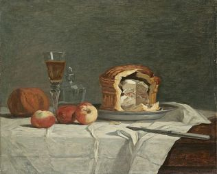 """Still Life with Pâté"" by Eugene Boudin 19th century. This one is baked in a postej tin made of sheet metal - which gives the pretty shape."
