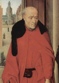 St Joseph now wears an evolved but simple chaperon with a short cornette around his shoulders. c. 1470.