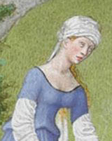 Woman working the fields in a veil wrapped around her head, 1416