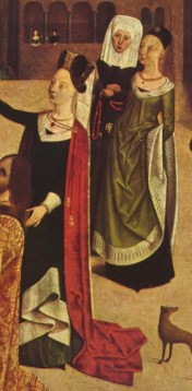 Long trimmed gowns of the 1480s are carried looped up to allow walking, displaying the kirtle beneath.