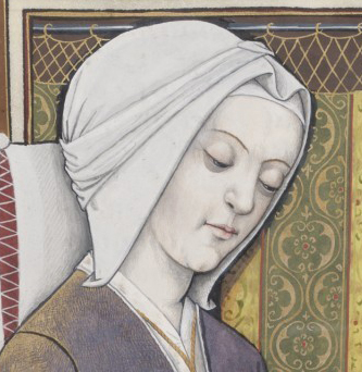Woman in a hood tied on her head. The woman is writing a letter in bed. 1497