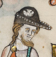 Bearded pilgrim wearing a bycocket with a seachell sewn to the side, 1325-1340