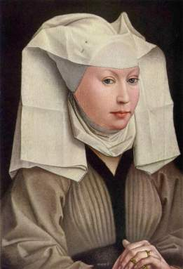 Modestly dressed woman wears a linen headdress and a grey gown lined in black fur confined with a belt at the high waist. Her veil is pinned to her cap, and has sharp creases from ironing, Netherlands, 1430.