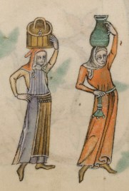 Woman carrying water. One is wearing a smocked apron and a surcote. c. 1325-1340